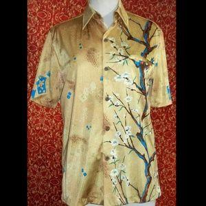Vintage Napili Mens gold floral Hawaiian Shirt M L